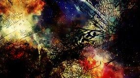 Lo spazio e le stelle cosmici, colorano il fondo astratto cosmico e la struttura nera di frattale illustrazione vettoriale