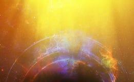 Lo spazio e le stelle cosmici con il cerchio leggero, colorano il fondo astratto cosmico Fotografia Stock Libera da Diritti