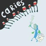 Lo spazzolino da denti con uno spazzolino da denti protegge dalla carie del dente Immagine Stock