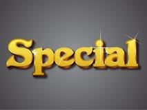 Lo Special scrive nella fonte tipografica dell'oro 3D Immagine Stock Libera da Diritti