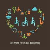 Lo speciale ha bisogno dell'illustrazione di istruzione dell'inclusione degli studenti Immagine Stock Libera da Diritti