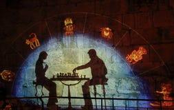 Lo spettacolo di luci alla torre di David Fotografie Stock Libere da Diritti