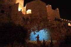 Lo spettacolo di luci alla torre di David Immagine Stock