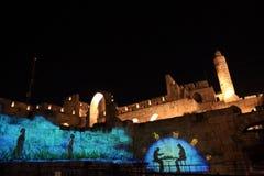 Lo spettacolo di luci alla torre di David Immagini Stock