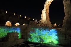 Lo spettacolo di luci alla torre di David Fotografie Stock