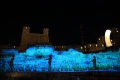 Lo spettacolo di luci alla torre di David Immagini Stock Libere da Diritti