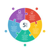 Lo spettro piano numerato dell'arcobaleno ha colorato la presentazione di puzzle grafico infographic con il giacimento esplicativ Immagini Stock Libere da Diritti