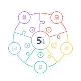 Lo spettro piano numerato dell'arcobaleno ha colorato la presentazione di puzzle grafico infographic con le icone isolate su fond Fotografia Stock