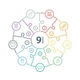 Lo spettro piano numerato dell'arcobaleno ha colorato la presentazione di puzzle grafico infographic con le icone isolate su fond Immagine Stock