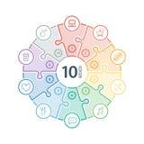 Lo spettro piano numerato dell'arcobaleno ha colorato la presentazione di puzzle grafico infographic con le icone isolate su fond Immagini Stock Libere da Diritti