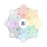Lo spettro piano numerato dell'arcobaleno ha colorato la presentazione di puzzle grafico infographic con le icone isolate su fond Immagini Stock