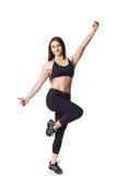 Lo sport helthy della donna atletica di forma fisica ha isolato la lotta bianca dei vestiti del nero del fondo Fotografia Stock Libera da Diritti