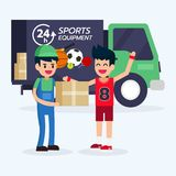 Lo sportivo ottiene la scatola del prodotto dall'attrezzatura di sport della consegna del corriere e dell'automobile dell'uomo Immagini Stock