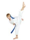Lo sportivo in un kimono esegue una circolare della gamba di scossa Fotografie Stock