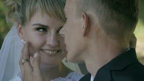 Lo sposo abbraccia la sposa in un parco nel sole video d archivio