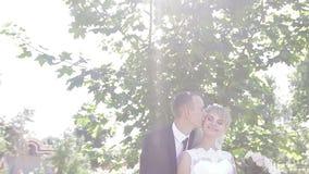 Lo sposo abbraccia la sposa in un parco nel sole archivi video