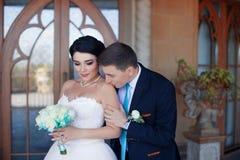 Lo sposo bacia delicatamente la sposa nella spalla fotografia stock