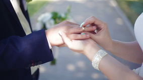 Lo sposo della sposa mette l'anello sul suo dito ad una cerimonia di nozze stock footage