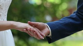 Lo sposo dispone l'anello sulla mano del ` s della sposa stock footage