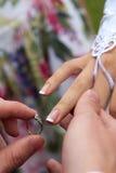 Lo sposo mette sopra alla sposa un anello di oro immagine stock libera da diritti