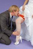 Lo sposo in modo divertente rimuove una giarrettiera dal piedino della sposa Immagini Stock Libere da Diritti