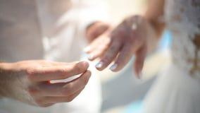 Lo sposo prende un anello di fidanzamento che le bugie su una medusa decorativa e mette l'anello sul dito della sua sposa a video d archivio