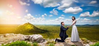 Lo sposo presenta alla sposa una proposta del matrimonio fotografia stock