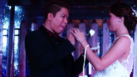 Lo sposo serve la torta nunziale alla sposa alla cerimonia tradizionale della torta nunziale archivi video