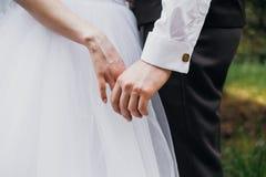 Lo sposo tiene la mano del ` s della sposa fotografia stock