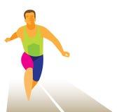 Lo sprinter dell'atleta vince la sua corsa Immagini Stock Libere da Diritti