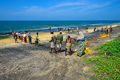 Lo Sri Lanka, il 14 novembre: I pescatori dell'Oceano Indiano tirano la rete con Immagini Stock