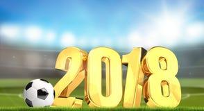 lo stadio di calcio 2018 3d dorato rende Fotografie Stock Libere da Diritti