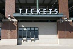 Lo stadio di sport ettichetta l'ufficio di casella, biglietto del gioco fotografia stock