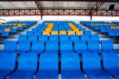 Lo stadio ed il sedile blu Fotografia Stock Libera da Diritti