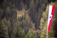 Lo stato del Tirolo della bandiera dell'Austria accanto alla strada va a Samnaun Immagine Stock Libera da Diritti