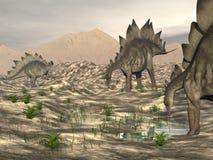 Lo stegosauro vicino a 3D acqua rende illustrazione di stock