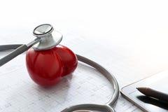 Lo stetoscopio con forma rossa del cuore e l'esame annuale riferiscono immagine stock libera da diritti