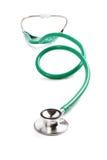 Lo stetoscopio medico verde ha allungato fuori 100% isolato su fondo bianco Immagine Stock