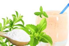 Lo stevia rebaudiana e la polvere verdi freschi dell'estratto in cucchiaio di legno con le bevande vetro e testo copiano lo spazi Immagini Stock Libere da Diritti
