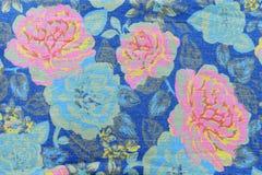 lo stile d'annata della tappezzeria fiorisce il backgroun del modello dei jeans del tessuto Immagini Stock