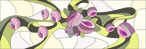 Lo stile del vetro macchiato con i fiori e le foglie di è aumentato Illustrazione di vettore Immagine Stock