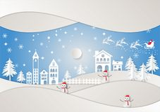 Lo stile di arte, la vacanza invernale e la città di carta per il Natale condiscono, Vector l'illustrazione Immagini Stock