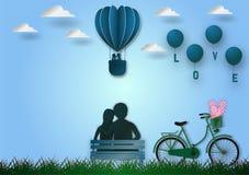 Lo stile di carta di arte di forma dei palloni del volo del cuore con la bicicletta ed il testo amano su fondo blu, l'illustrazio Fotografia Stock