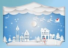 Lo stile di carta di arte, vacanza invernale per il Natale condisce, Vector l'illustrazione Fotografia Stock