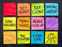 Lo stile di vita sano fornisce di punta le note Immagine Stock Libera da Diritti