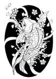 Lo stile giapponese del tatuaggio del pesce di Koi ha allineato il tiraggio del modello Fotografia Stock Libera da Diritti