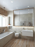 Lo stile moderno del bagno, 3D rende Fotografie Stock