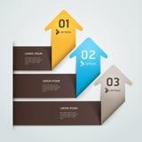 Lo stile moderno di origami della freccia aumenta il numero. illustrazione di stock