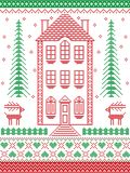 Lo stile nordico ed ispirato dal Natale scandinavo modella l'illustrazione in punto trasversale con la casa di pan di zenzero, re Immagini Stock