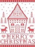 Lo stile nordico ed ispirato dal Natale scandinavo modella l'illustrazione in punto trasversale in rosso ed in bianco, casa di pa Fotografia Stock Libera da Diritti